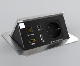 Blocco portaprese a scomparsa a 1 presa + 1 presa dati + 1 HDMI + 1 USB 5V + 1 jack audio
