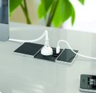 Modulo a scomparsa con coperchio scorrevole a 1 presa + 1 presa dati + 1 USB 5V da ricarica