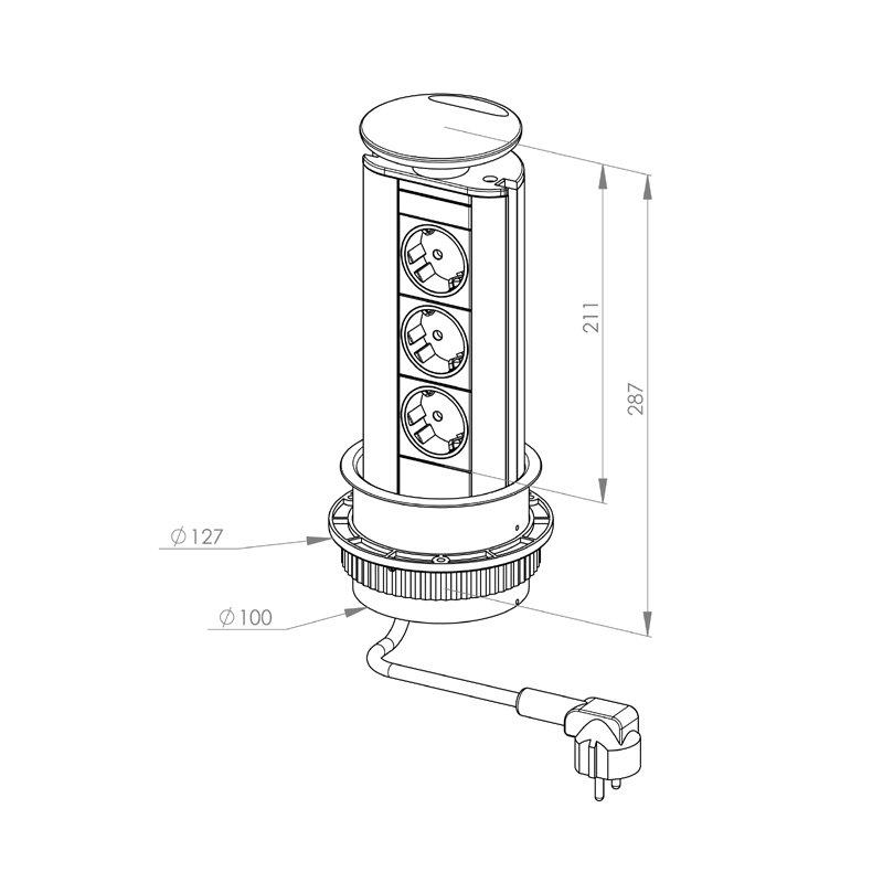 ... / Torretta elettrica multipresa estraibile a 2 prese (mod. TM